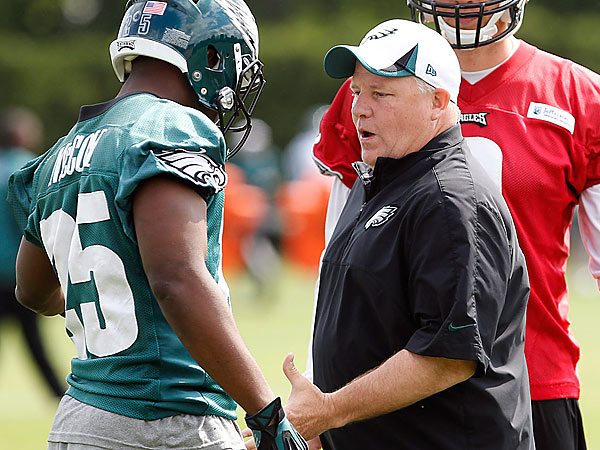 Eagles coach Chip Kelly, right, talks with LeSean McCoy, left, as Nick Foles looks on during the Eagles organized team activities. (David Maialetti/Staff Photographer)