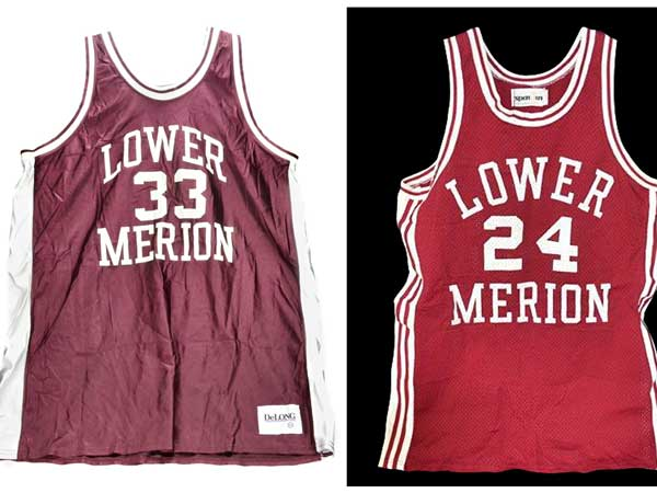 This image provided by Goldin Auctions on Friday, May 3, 2013, shows Lower Merion High School basketball jerseys worn by Los Angeles Lakers star Kobe Bryant. Goldin Auctions is suing for the right to sell the stuff after the NBA star´s lawyers wrote the firm to say it could not. (AP photo)