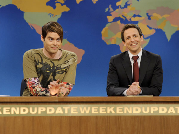 "This image released by NBC shows Bill Hader, portraying the character Stefon, left and Seth Meyers during a skit from ""Saturday Night Live."" (AP Photo/NBC,Dana Edelson)"