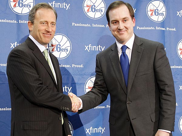 Sixers owner Josh Harris and new general manager Sam Hinkie. (Yong Kim/Staff Photographer)