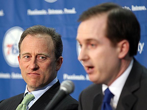 76ers owner Josh Harris (left) and general manager Sam Hinkie (right). (Yong Kim/Staff Photographer)