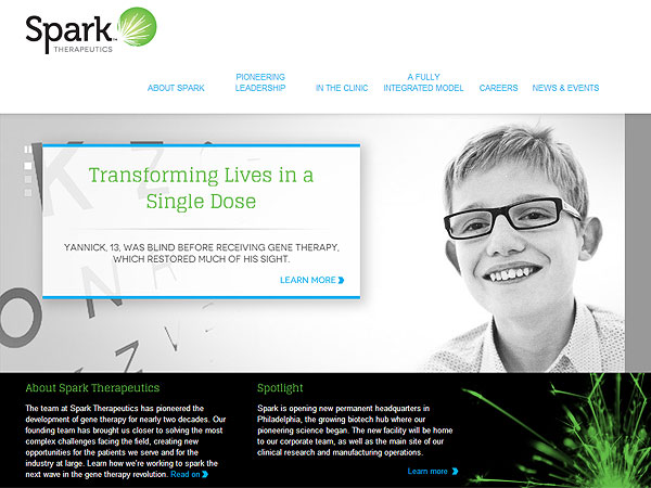The Spark Therapeutics website shows a boy who was treated with gene therapy.