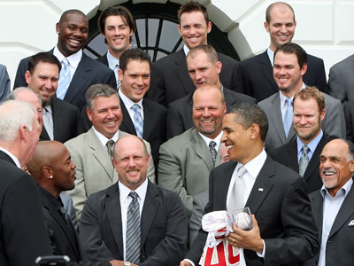 After presenting President Barack Obama with a ball and a jersey, Jimmy Rollins laughed Friday when the President asked for his World Series championship ring too. (Steven M. Falk / Staff Photographer)