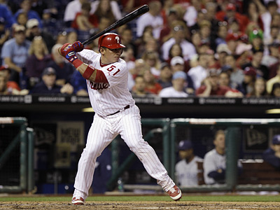 Carlos Ruiz leads National League catchers in most major offensive categories this season. (AP Photo/Matt Slocum)