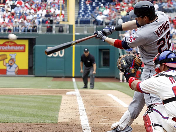 Cleveland Indians&acute; Jason Kipnis hits a hits a double against the<br />Philadelphia Phillies during the third inning of a interleague<br />baseball game Wednesday, May 15, 2013, in Philadelphia.  (AP Photo/H.<br />Rumph Jr)