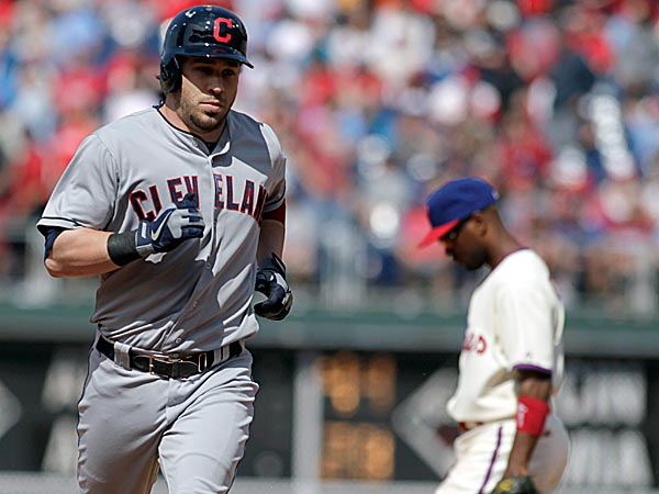 The Indians´ Jason Kipnis runs the bases after hitting a three-run home run against the Phillies in the eight inning. (H. Rumph Jr/AP)