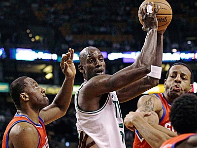 The Sixers limited Kevin Garnett to 15 points in Game 2 in Boston. (Charles Krupa/AP)