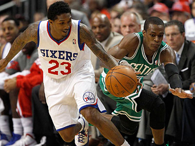 Lou Williams dribbles against the Celtics´ Rajon Rando during the second quarter of Game 3. (Yong Kim/Staff Photographer)