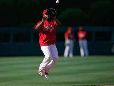 Jimmy Rollins was examined by the team doctor today. He suffered a right calf strain in April. (AP Photo / Matt Slocum)