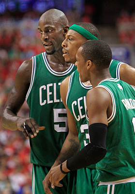 The Celtics´ Kevin Garnett, left, Paul Pierce and Rajon Rondo torched the Sixers in Game 3. (Ron Cortes / Staff Photographer)