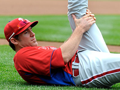 Chase Utley has been rehabbing with the Phillies since returning from Arizona. (Richard Lipski/AP)