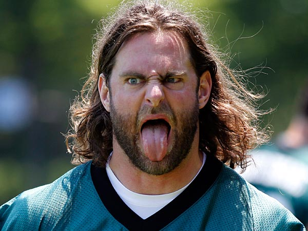 Philadelphia Eagles´ Evan Mathis sticks his tongue out after practice at the team´s NFL football training facility, Thursday, May 31, 2012, in Philadelphia. (AP Photo/Matt Rourke)