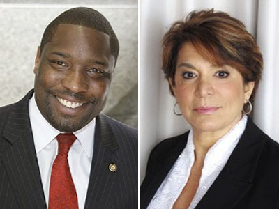 Democrats Kenyatta Johnson (left) and Barbara Capozzi (right) wound up in a near-statistical tie in Tuesday election, with just 72 votes separating them. Damon Roberts, who withdrew from the race too late to get off the ballot but threw his support to Johnson, still garnered 319 votes.