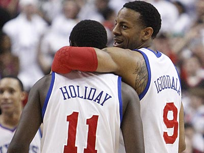 Andre Iguodala and Jrue Holiday celebrate the Sixers´ Game 4 victory over the Celtics. (Ron Cortes/Staff Photographer)