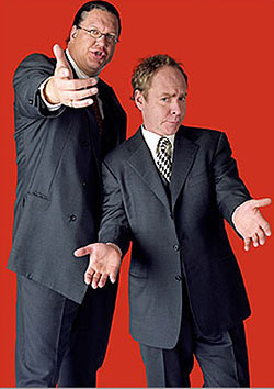 Penn Jillette (left) and Teller perform Friday and Saturday at Harrah´s Resort Atlantic City. (Photo: pennandteller.com)