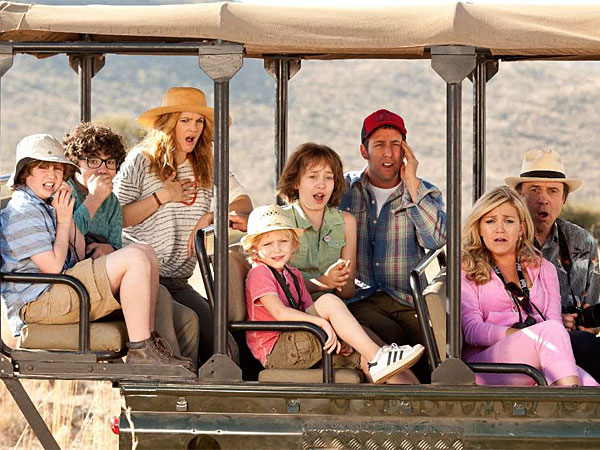 "In ""Blended,"" Drew Barrymore as Lauren and Adam Sandler as Jim are single parents who cross paths on an African vacation with their children. (Warner Bros. Pictures)"