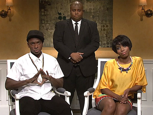 Jay Pharoah as Jay Z, Sasheer Zamata as Solange and Keenan Thompson as t he security guard in the SNL ´Elevatorgate´ spoof. (via NBC)