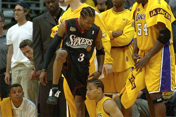 During the 2000-2001 season, Allen Iverson led the NBA in scoring (31.1 points per game), and steals (2.5 steals per game). He helped the Sixers earn the Eastern Conference´s best record (56-26) en route to being named league MVP. (Jerry Lodriguss / File Photo)