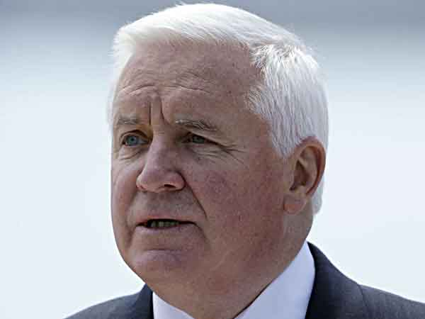 Gov. Tom Corbett speaks during an event at the Packer Avenue Marine Terminal, Tuesday, May 14, 2013, in Philadelphia. ( AP Photo/Matt Rourke)
