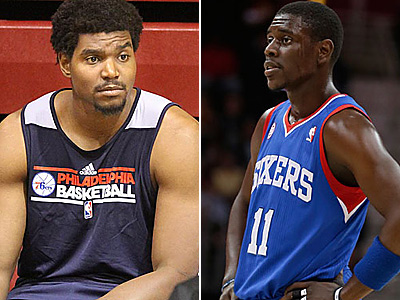 Jrue Holiday, right, would like to see the Sixers re-sign Andrew Bynum. (AP/Staff Photos)