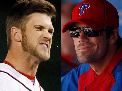 What will happen the next time Bryce Harper faces Cole Hamels? (Staff/AP Photos)