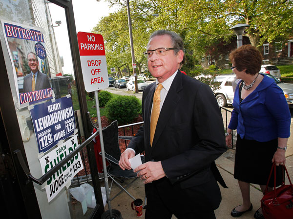 Philadelphia City Controller Alan Butkovitz and wife Theresa arrive at polling place Ward 53 Division 11 inside the St. Thomas Indian Orthodox school at 1009 Unruh Ave in northeast Philadelphia on Tuesday, May 21, 2013. ( ALEJANDRO A. ALVAREZ / STAFF PHOTOGRAPHER )