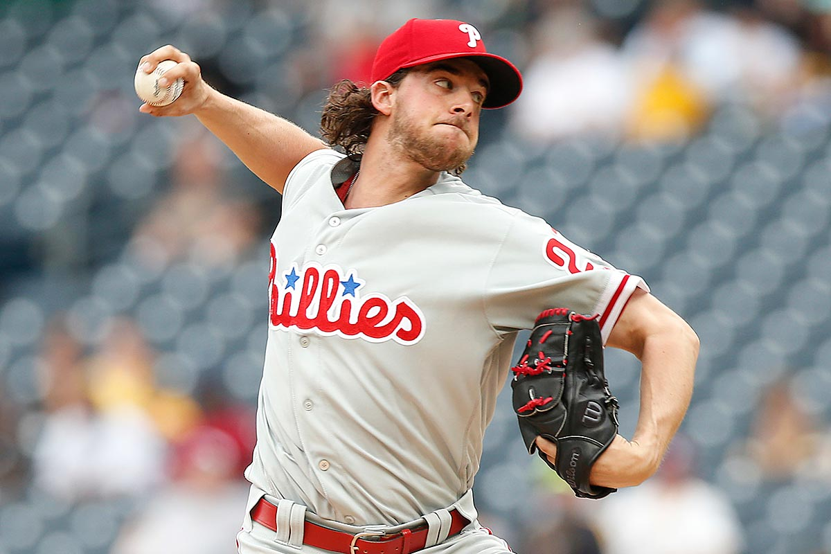 Philadelphia Phillies starting pitcher Aaron Nola (27) pitches in the first inning against the Pittsburgh Pirates during a baseball game in Pittsburgh, Sunday, May 21, 2017.