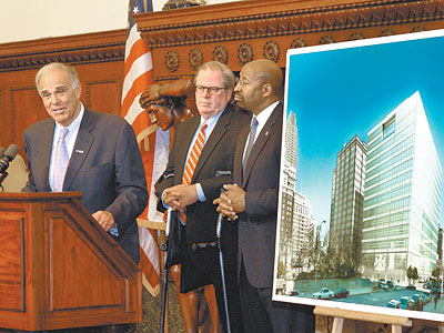 Mayor Nutter, right, Gov. Rendell, left, and state Chief Justice Ron Castille were all on hand for the May 21, 2010 announcement about a new family court building for 15th and Arch streets. (April Saul / Staff Photographer)