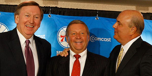 76ers president Rod Thorn (left) and general manager Ed Stefanski (right) have an opportunity to turn the 76ers from a surprising, 41-win team into a steady-and-climbing 50-win club. (David Maialetti/Staff file photo)<br />