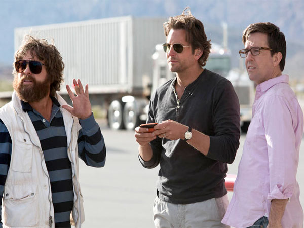 "From left: Zach Galifianakis as Alan, Bradley Cooper as Phil and Ed Helms as Stu in ""The Hangover: Part III."" (Warner Bros.)"