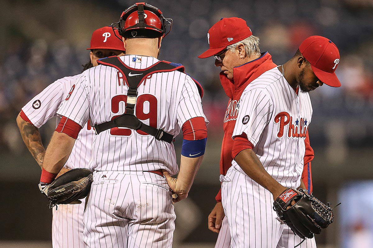 Philadelphia Phillies manager Pete Mackanin relieves pitcher Joely Rodriguez after giving up a two-run double against the Colorado Rockies during the ninth inning on Monday, May 22, 2017 at Citizens Bank Park in Philadelphia, Pa. The Rockies beat the Phillies, 8-1.