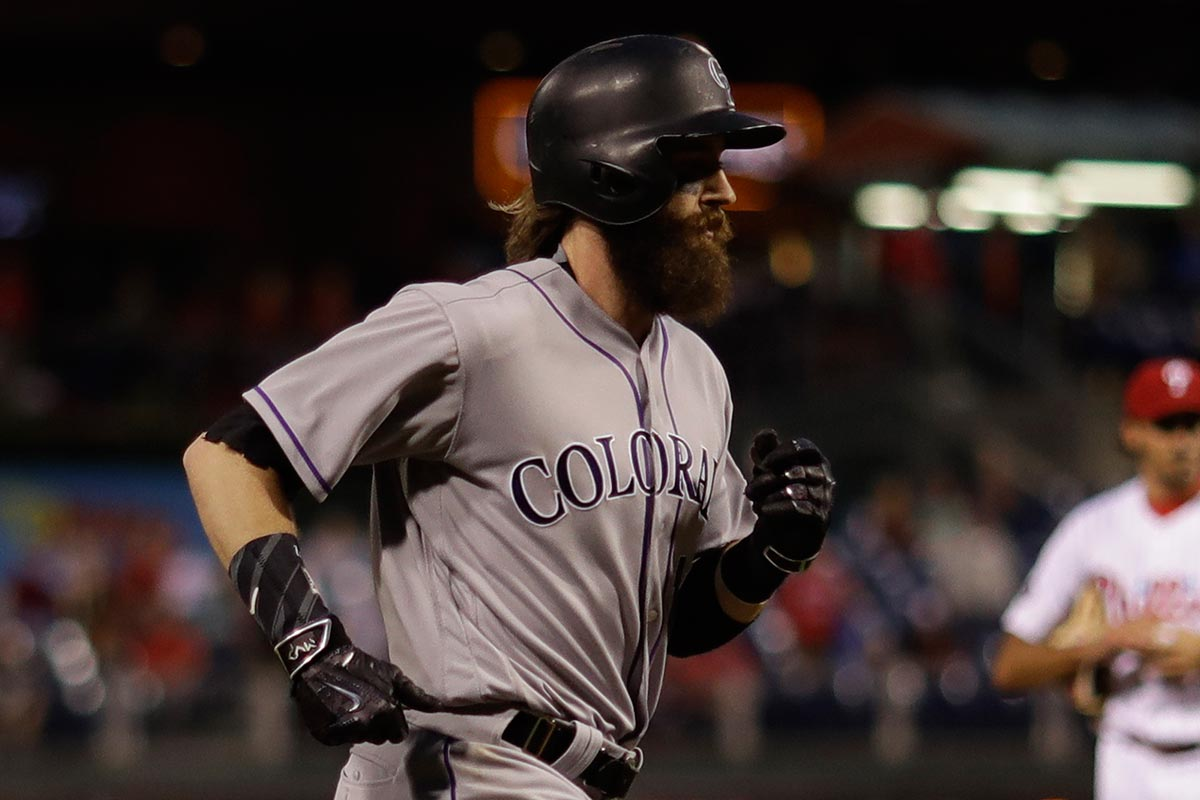 Colorado Rockies´ Charlie Blackmon in action during a baseball game against the Philadelphia Phillies, Tuesday, May 23, 2017, in Philadelphia.