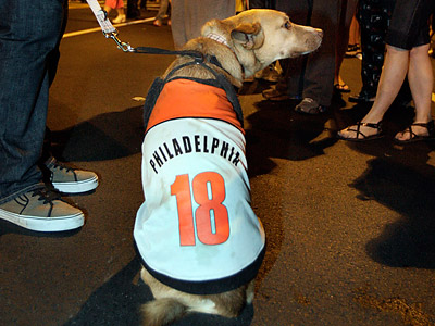 Even pets joined the postgame celebrations at Broad and Shunk. (Elizabeth Robertson/Staff Photographer)