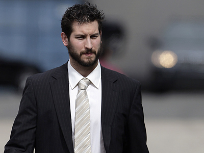 Flyers´ goalie Michael Leighton arrives at the Wachovia Center for Game 5 of the Eastern Conference Finals. (David Maialetti / Staff Photographer)