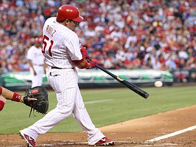 Carlos Ruiz has a right wrist contusion and x-rays were negative. (Steven M. Falk/Staff Photographer)
