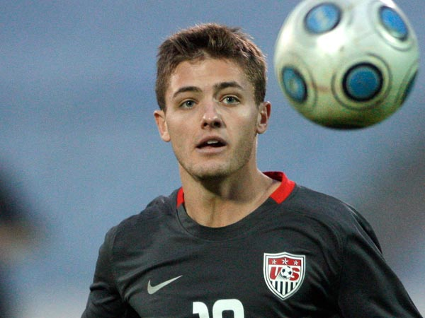 Robbie Rogers became the first openly gay male professional athlete to actually play in a major American league game on Sunday. (Petr David Josek/AP file)