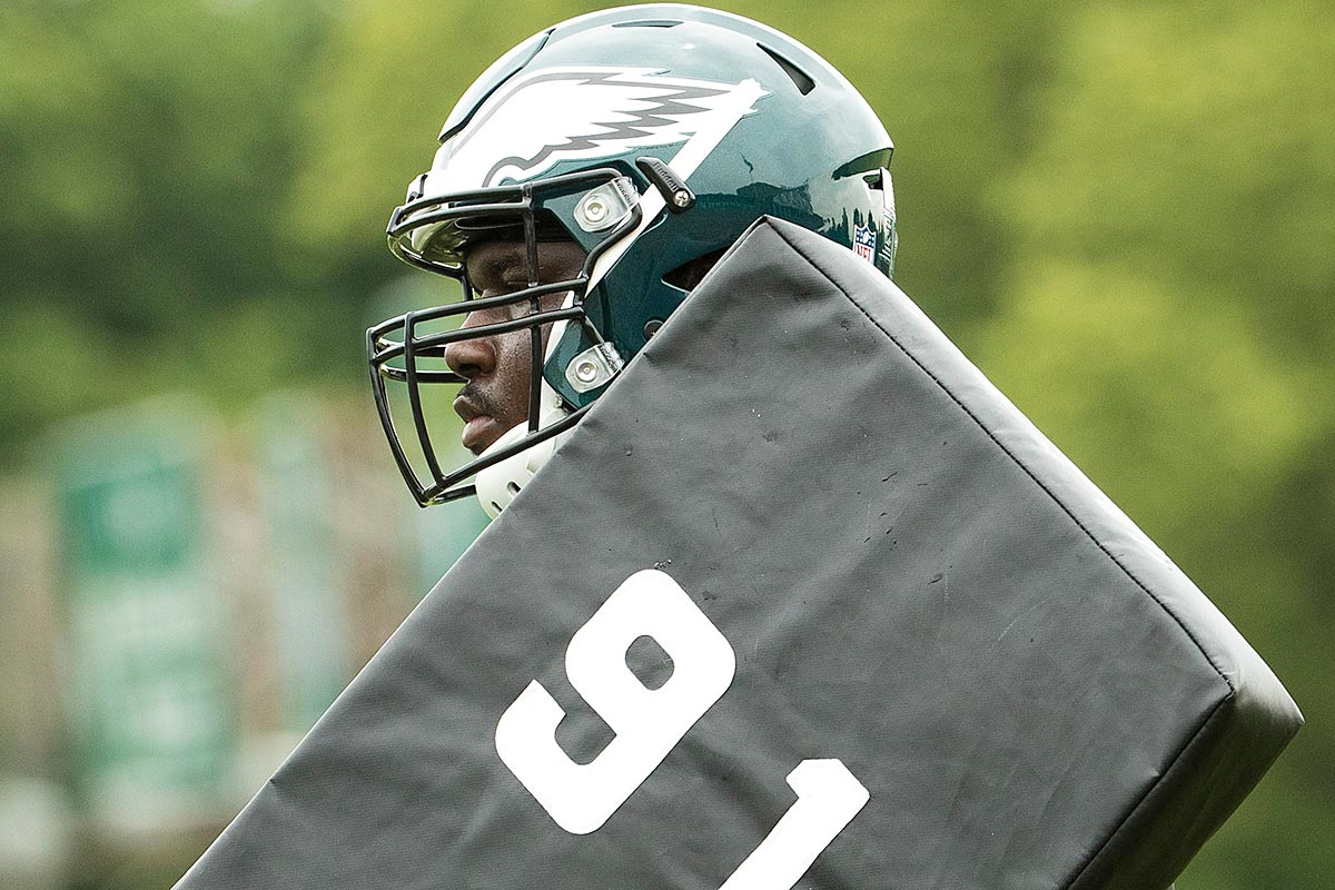Philadelphia Eagles guard Dillon Gordon (69) looks on during OTA at the NovaCare Complex in Philadelphia, Pennsylvania.