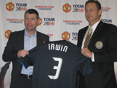 Denis Irwin poses for a picture with Philadelphia Union CEO Nick Sakiewicz. (Jonathan Tannenwald/Philly.com)