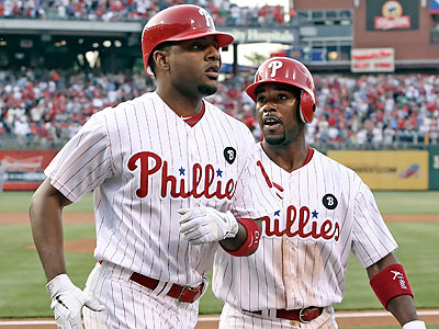 Ben Francisco (left) gets a rare start and Jimmy Rollins makes his second straight appearance at the top of the lineup. (Steven M. Falk/Staff Photographer)