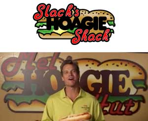 "Top, Slack´s Hoagies logo, and bottom, the eerily similar one that appears on ""Cougar Town."""
