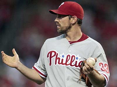 Cliff Lee allowed three runs on eight hits and struck out seven in seven innings against the Cardinals. (Jeff Roberson/AP)