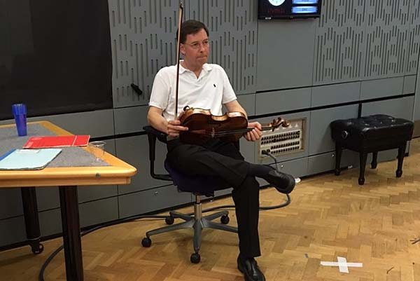 Curtis Institute president and violist Roberto Diaz prepares to perform on BBC Radio 3's In Tune program minutes before the building was evacuated.