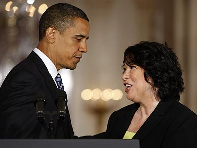 President Obama officially introduced Sonia Sotomayor as his first Supreme Court nominee this afternoon. (Pablo Martinez Monsivais/AP)