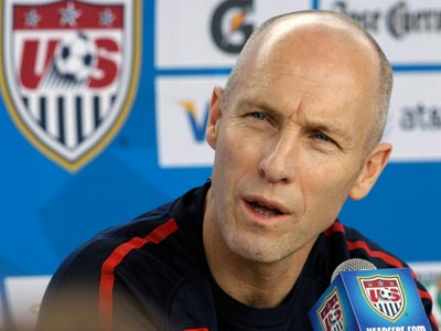 Bob Bradley, the United States Men´s National World Cup soccer team coach, announced the U.S. World Cup roster at 1 p.m. today, Wednesday, May 26, 2010. (AP Photo/Mel Evans)