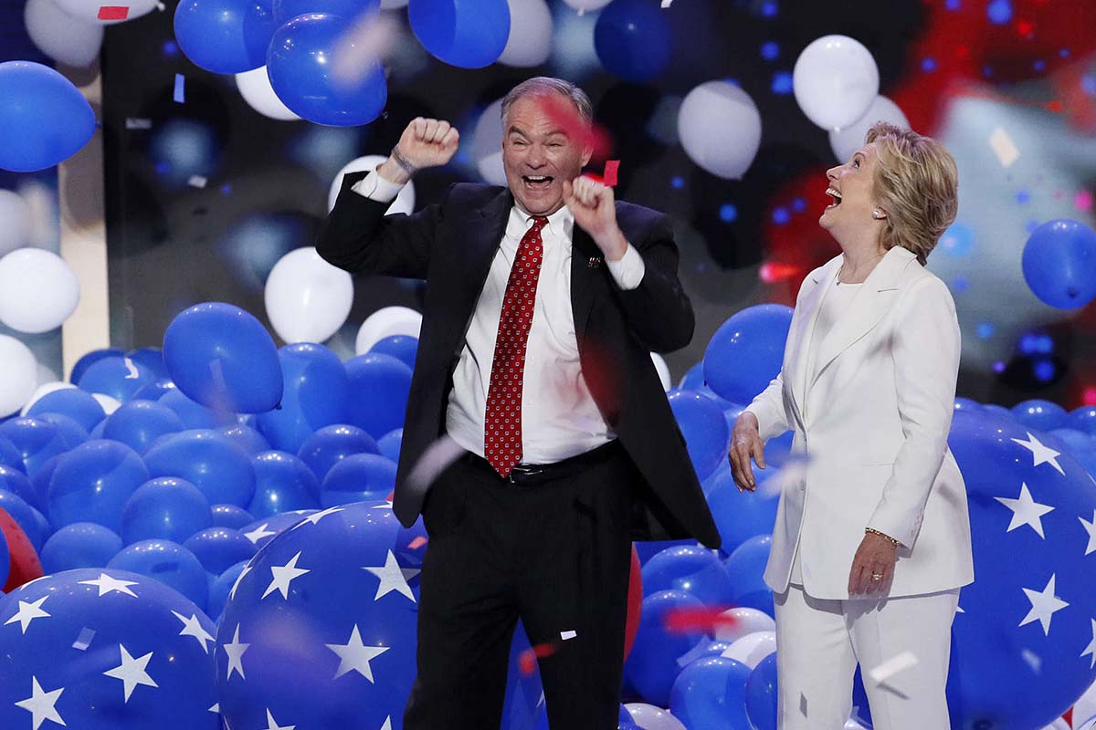 File: In this July 28, 2016 file photo, Democratic presidential nominee Hillary Clinton and her running mate Democratic vice presidential nominee Sen. Tim Kaine, D-Va., celebrate in a sea of falling balloons during the final day of the Democratic National Convention in Philadelphia.