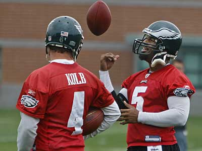 Kevin Kolb and Donovan McNabb pictured at a minicamp earlier this month. McNabb is not participating in this week´s voluntary OTAs. (Michael S. Wirtz / Staff Photographer)