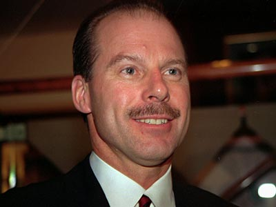 Mike Keenan, seen here in a March 1993 photo, has coached both the Flyers and the Blackhawks. (AP File Photo)