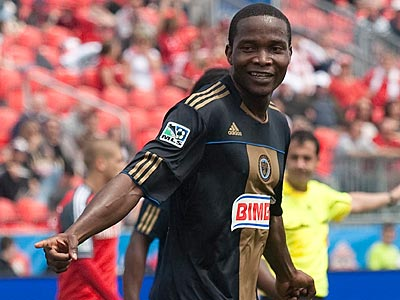 Danny Mwanga and the Union take on English power Everton F.C. in one of two friendlies this week. (AP Photo/The Canadian Press)