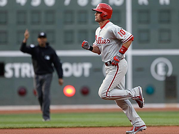 The Phillies´ Michael Young trots around the bases after his solo home run against the Red Sox in the first inning. (Elise Amendola/AP)