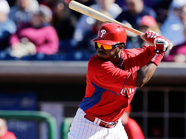 Philadelphia Phillies´ Zach Collier in action during a spring training exhibition baseball game against the Washington Nationals, Wednesday, March 6, 2013, in Clearwater, Fla. (AP Photo/Matt Slocum)